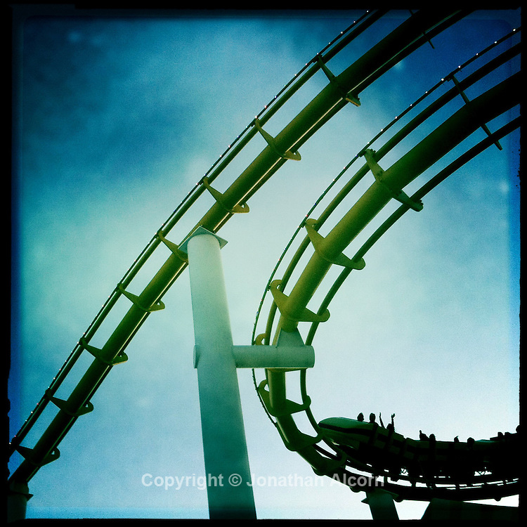 May 29, 2011  Santa Monica Pier's roller coaster at Pacific Park.©Jonathan Alcorn 2011