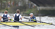 Putney, London, Oxford cox  Cox - Adam BARHAMAND  looks out of the boat after  losing the  156th, University Boat Race to Cambridge, on the Championship Course Putney to Hammersmith  Saturday  03/04/2010 [Mandatory Credit Peter Spurrier/ Intersport Images]