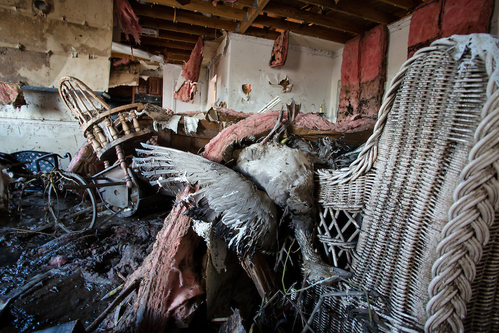September 7 Braithwaite, Louisiana :  Interior of a home destroyed  by the surge caused by Hurricane Isaac. Plaquemines Parish was flooded by a surge that flooded some homes with over 12ft. on the east and west bank of the Mississippi River. Hurricane Isaac caused over 2 billion dollars of damage despite being rated as a category 1 storm.