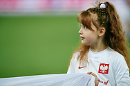 Chorzow, Poland - 2018 March 27: Child holds the national flag before Poland v South Korea International Friendly Soccer match at Stadion Slaski on March 27, 2018 in Chorzow, Poland.<br /> <br /> Mandatory credit:<br /> Photo by © Adam Nurkiewicz / Mediasport<br /> <br /> Adam Nurkiewicz declares that he has no rights to the image of people at the photographs of his authorship.<br /> <br /> Picture also available in RAW (NEF) or TIFF format on special request.<br /> <br /> Any editorial, commercial or promotional use requires written permission from the author of image.