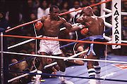 6 Apr 1987:  Sugar Ray Leonard, left, battles Marvin Hagler, right, during a middleweight bout at Caesars Palace in Las Vegas, NV. Leonard won the fight in a 12 round decision..