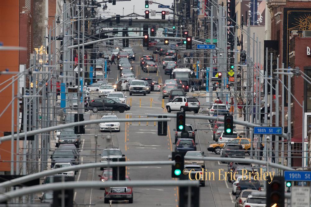 Traffic on Main Street in Kansas City, Mo., March 10, 2017. (Colin E. Braley)