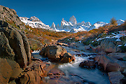 Mountain stream near Mt. Fitzroy in the Andes Mountains of Patagonia, Argentina, South America