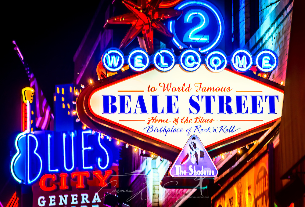 Neon lights illuminate Beale Street, Sept. 5, 2015, in Memphis, Tennessee. The street features 1.8 miles of restaurants, nightclubs, and blues bars. The street is known as a music mecca and has a lengthy tradition among African-Americans and blues musicians. The street is famous for the Beale Street Music Festival, which is held annually in late April or early May and officially kicks off the Memphis in May barbecue competition. (Photo by Carmen K. Sisson/Cloudybright)