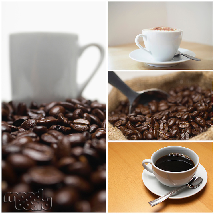 Collage of coffee and beans
