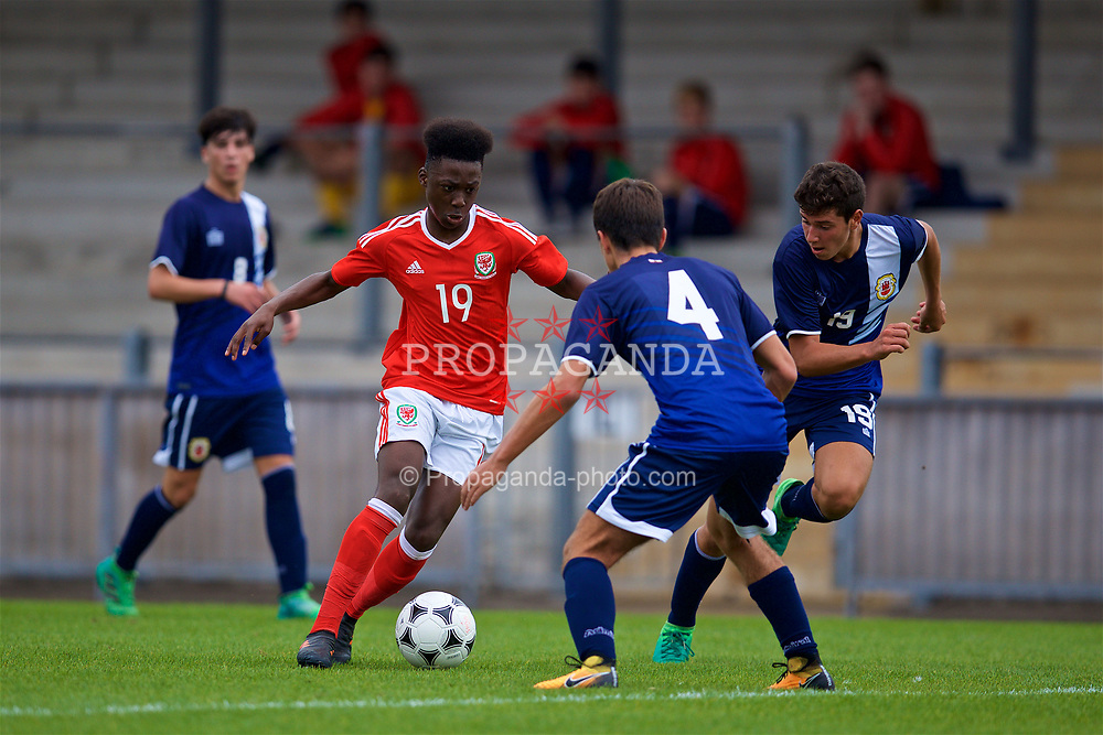 NEWPORT, WALES - Sunday, September 24, 2017: Wales' Ntazana Meyemba during an Under-16 International friendly match between Wales and Gibraltar at the Newport Stadium. (Pic by David Rawcliffe/Propaganda)