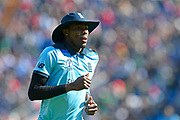 Jofra Archer of England during the ICC Cricket World Cup 2019 match between England and Bangladesh the Cardiff Wales Stadium at Sophia Gardens, Cardiff, Wales on 8 June 2019.