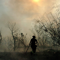 A San Benito Fire Fighter heads back towards a large grass fire that broke out near the Hwy 100 exit friday afternoon.