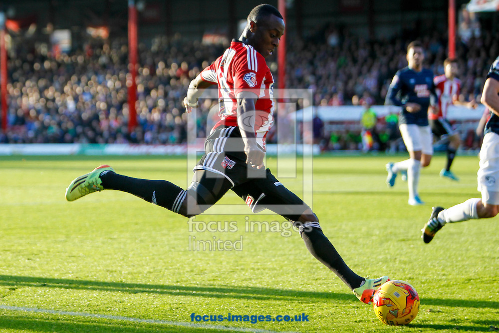 Moses Odubajo of Brentford during the Sky Bet Championship match between Brentford and Derby County at Griffin Park, London<br /> Picture by Mark D Fuller/Focus Images Ltd +44 7774 216216<br /> 01/11/2014