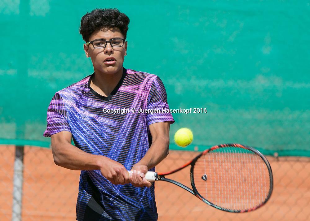 Tennis Europe-Bavarian Junior Open, Marlon Vankan (GER) BS16<br /> <br /> Tennis - Bavarian Junior Open 2016 - Tennis Europe Junior Tour -  SC Eching - Eching - Bayern - Germany  - 11 August 2016. <br /> &copy; Juergen Hasenkopf