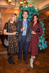 Left to right, Karoline Copping, Jimmy Carr and Ronni Ancona at the launch of the Fortnum & Mason Christmas & Other Winter Feasts Cook Book by Tom Parker Bowles held at Fortnum & Mason, 181 Piccadilly, London, England. 17 October 2018.