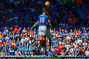 Nikola Katic of Rangers FC wins the ball in the air during the Ladbrokes Scottish Premiership match between Rangers and Celtic at Ibrox, Glasgow, Scotland on 12 May 2019.