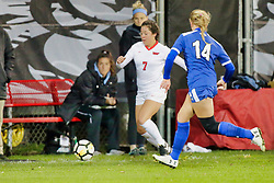NORMAL, IL - October 17:  Hannah Mueller & Kathryn Besserman during an NCAA Missouri Valley Conference (MVC)  women's soccer match between the Indiana State Sycamores and the Illinois State Redbirds October 17 2018 on Adelaide Street Field in Normal IL (Photo by Alan Look)