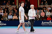 Strictly Come Dancing star Anton du Beke and coach Judy Murray during a celebrity doubles match at the Men's Singles Final Champions Tennis match at the Royal Albert Hall, London, United Kingdom on 9 December 2018. Picture by Ian Stephen.