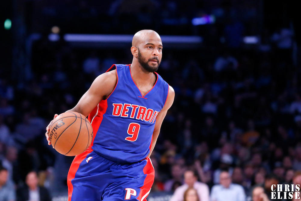 10 March 2015: Detroit Pistons guard John Lucas III (9) brings the ball up court during the Los Angeles Lakers 93-85 victory over the Detroit Pistons, at the Staples Center, Los Angeles, California, USA.