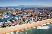 Sunset Beach Aerial Stock Photo in Huntington Beach