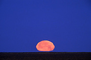 Image of full moon setting in the desert landscape of New Mexico, American Southwest