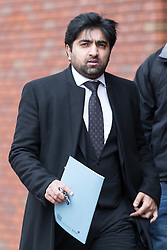 © Licensed to London News Pictures . 05/12/2013 . Stockport , UK . Solicitor Imran Khan of Lewis-Hymanson Small outside Stockport Magistrates Court this morning . He is representing FA referee DEAN MOHAREB . Mohareb is charged with perverting the course of justice and unauthorised access to computer data . Photo credit : Joel Goodman/LNP