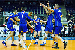 08.01.2016, Max Schmeling Halle, Berlin, GER, CEV Olympia Qualifikation, Frankreich vs Bulgarien, im Bild Jubel Kevin Tillie (#7, Frankreich/France), Benjamin?Toniutti (#6, Frankreich/France), Earvin?Ngapeth (#9, Frankreich/France) und Kevin le Roux (#10, Frankreich/France) // during 2016 CEV Volleyball European Olympic Qualification Match between France and Bulgaria at the  Max Schmeling Halle in Berlin, Germany on 2016/01/08. EXPA Pictures © 2016, PhotoCredit: EXPA/ Eibner-Pressefoto/ Wuechner<br /> <br /> *****ATTENTION - OUT of GER*****