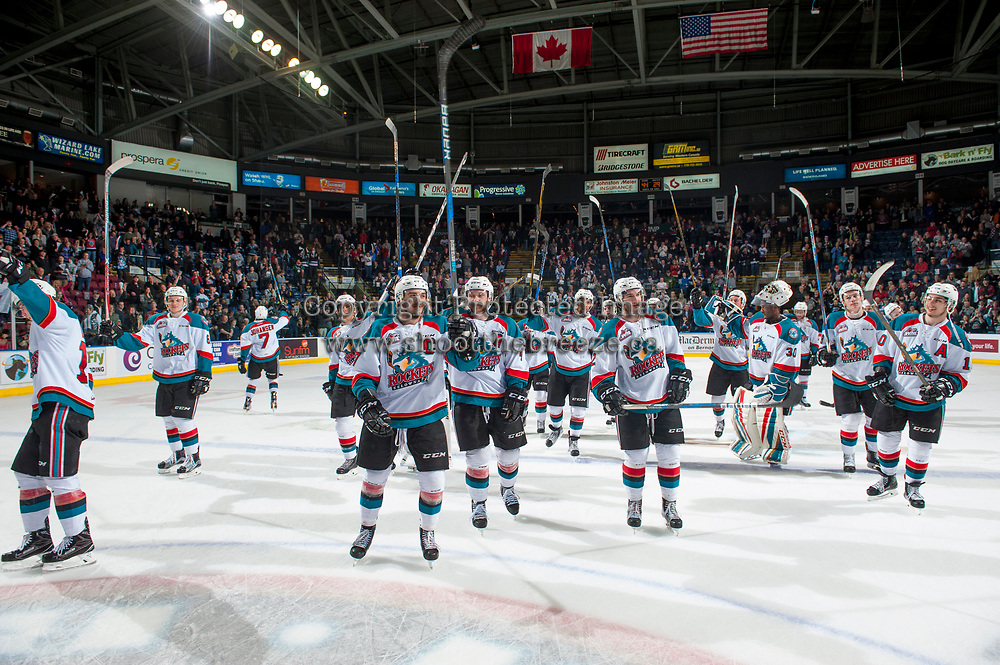 KELOWNA, CANADA - APRIL 14:  The Kelowna Rockets salute fans on after winning game 5 and the second round series against the Portland Winterhawkson April 14, 2017 at Prospera Place in Kelowna, British Columbia, Canada.  (Photo by Marissa Baecker/Shoot the Breeze)  *** Local Caption ***
