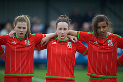 NEWPORT, WALES - Sunday, April 3, 2016: Wales' Erin Riden, Hannah Davies and Amina Vine line-up before the game against Northern Ireland on Day 3 of the Bob Docherty International Tournament 2016 at Dragon Park. (Pic by David Rawcliffe/Propaganda)