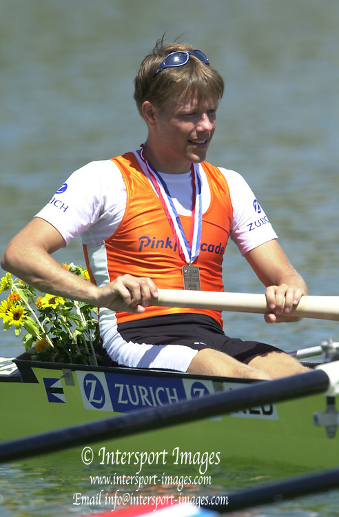 Peter Spurrier Sports  Photo.email pictures@rowingpics.com.Tel 44 (0) 7973 819 551.Tel/Fax 44 (0) 1784 440 772.Photo Peter Spurrier..2nd Rd FISA World Cup Seville. Day 3..NED LM4- Bow Karel Dormans. 20010515 FISA World Cup, Seville, SPAIN