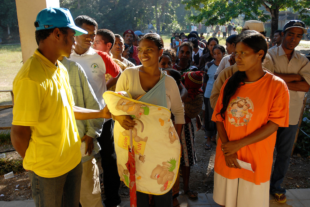 Voters line up at the polling station in the Ermera district village of Fatuquero to cast their vote on Timor-Lestes June 30 Parliamentary elections..Timor-Leste