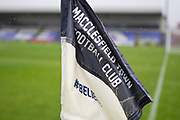 Macclesfield Town Flag. EFL Sky Bet League 2 match between Macclesfield Town and Colchester United at Moss Rose, Macclesfield, United Kingdom on 28 September 2019.