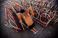 Vietnamese man working out in a street of Hanoi by early morning, Vietnam, Southeast Asia