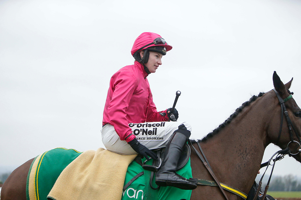 Navan Races, Saturday 27th February 2016.<br /> Nina Carberry on Gettysburg Address before the start of the Athboy Pro/Am Flat<br /> Photo: David Mullen /www.cyberimages.net / 2016