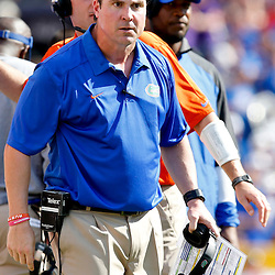 Oct 12, 2013; Baton Rouge, LA, USA; Florida Gators head coach Will Muschamp against the LSU Tigers during the first half of a game at Tiger Stadium. Mandatory Credit: Derick E. Hingle-USA TODAY Sports