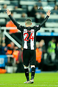 Miguel Almiron (#24) of Newcastle United celebrates at full time following the Premier League match between Newcastle United and Crystal Palace at St. James's Park, Newcastle, England on 21 December 2019.
