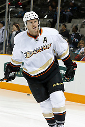 November 9, 2010; San Jose, CA, USA;  Anaheim Ducks center Saku Koivu (11) warms up before the game against the San Jose Sharks at HP Pavilion.  The Ducks defeated the Sharks 3-2 in overtime. Mandatory Credit: Jason O. Watson / US PRESSWIRE