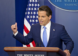 July 21, 2017 - Washington, District of Columbia, U.S. - Incoming White House communications director ANTHONY SCARAMUCCI answers reporter's questions during his first press briefing during his first day on the job in the Brady Press Briefing Room of the White House.  During his opening remarks, Scaramucci announced that Sarah Huckabee Sanders would take over as press secretary from Sean Spicer. (Credit Image: © Ron Sachs/CNP via ZUMA Wire)