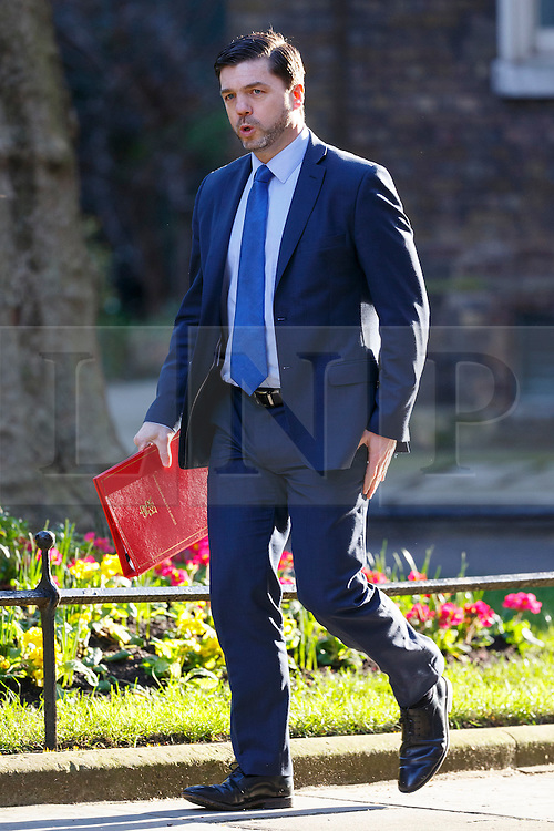 © Licensed to London News Pictures. 31/03/2016. London, UK. Work and Pensions Secretary STEPHEN CRABB attending a meeting to discuss Tata Steel's decision to sell its UK business with Prime Minister David Cameron in Downing Street on Thursday, 31 March 2016. Photo credit: Tolga Akmen/LNP