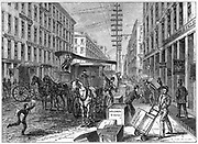 Deliveries and collections taking place at Wells Fargo depot, New York.  From 'Harper's New Monthly Magazine' New York 1875. Wood engraving