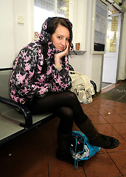 © under license to London News Pictures. 1.12.2010 Snow chaos in Orpington in Kent.   Kerry Strugnell is Stuck at Orpington Train Station trying to get a train to Manchester she has been trying to get her money back too..her mobile number 07870511756. Picture credit should read Grant Falvey/London News Pictures