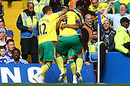 The Norwich players celebrate Grant Holt's equaliser during the Barclays Premier League match at Stamford Bridge stadium, London...Picture by Paul Chesterton/Focus Images Ltd.  07904 640267.27/8/11