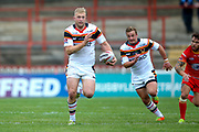 Bradford Bulls loose forward Damian Sironen (10) makes a break during the Kingstone Press Championship match between Sheffield Eagles and Bradford Bulls at, The Beaumont Legal Stadium, Wakefield, United Kingdom on 3 September 2017. Photo by Simon Davies.