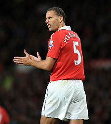 Rio Ferdinand during the Barclays Premier League match between Manchester United and Tottenham Hotspur at Old Trafford on October 30, 2010 in Manchester, England.