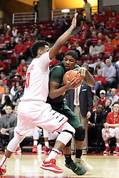 05 December 2015: Lewis Sullivan takes the baseline as Nick Banyard(0) works to take it away. Illinois State Redbirds host the University of Alabama - Birmingham Blazers at Redbird Arena in Normal Illinois (Photo by Alan Look)