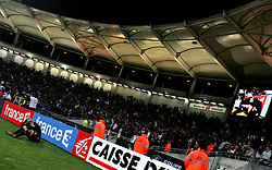Lille goalkeeper Ludovic Butelle sits on the pitch dejected as Lille miss their final penalty during the 1/4 Final of la Coupe de France, Stade Municipal, Toulouse, France, 18th March 2009.