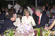 Lord Hindlipp, Annabel Elliot ( Camilla Parker-Bowles's sister ) and  Henry Wyndham. Cartier party after the preview of the Chelsea Flower show. physic Garden. London 21 May 2001. © Copyright Photograph by Dafydd Jones 66 Stockwell Park Rd. London SW9 0DA Tel 020 7733 0108 www.dafjones.com
