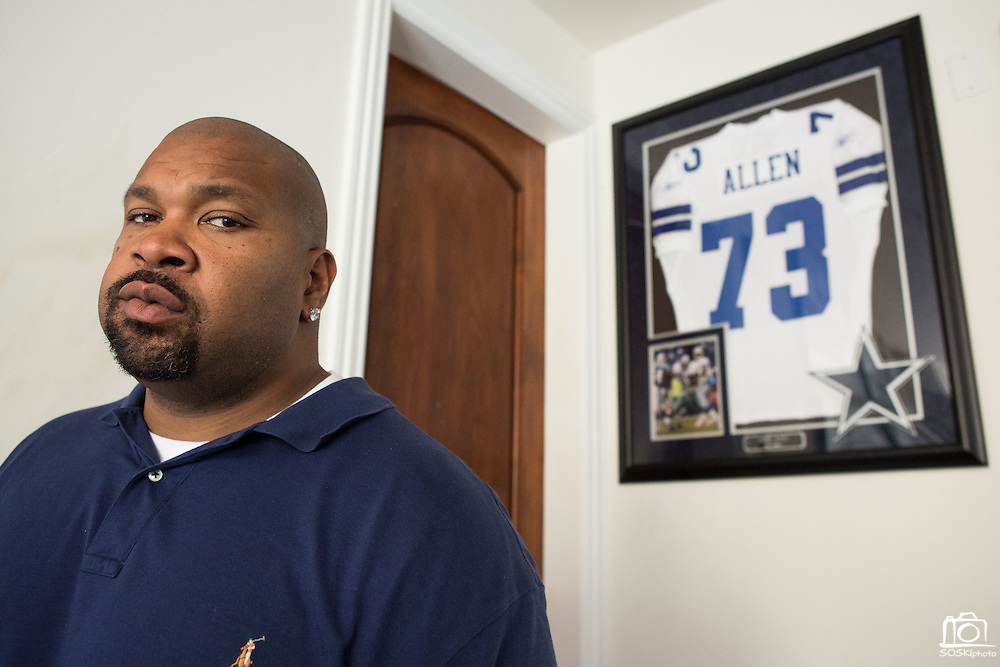 Former Dallas Cowboys guard Larry Allen, Jr. poses for a portrait with his #73 Cowboys jersey at his home in Danville, California, on June 27, 2013.  Allen will be inducted into the NFL Hall of Fame during the Enshrinement Ceremony at Fawcett Stadium in Canton, Ohio, on August 2, 2013. (Stan Olszewski for Fort Worth Star-Telegram)