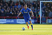 AFC Wimbledon defender Darius Charles (32) dribbling and starting an attack during the EFL Sky Bet League 1 match between AFC Wimbledon and Southend United at the Cherry Red Records Stadium, Kingston, England on 25 March 2017. Photo by Matthew Redman.