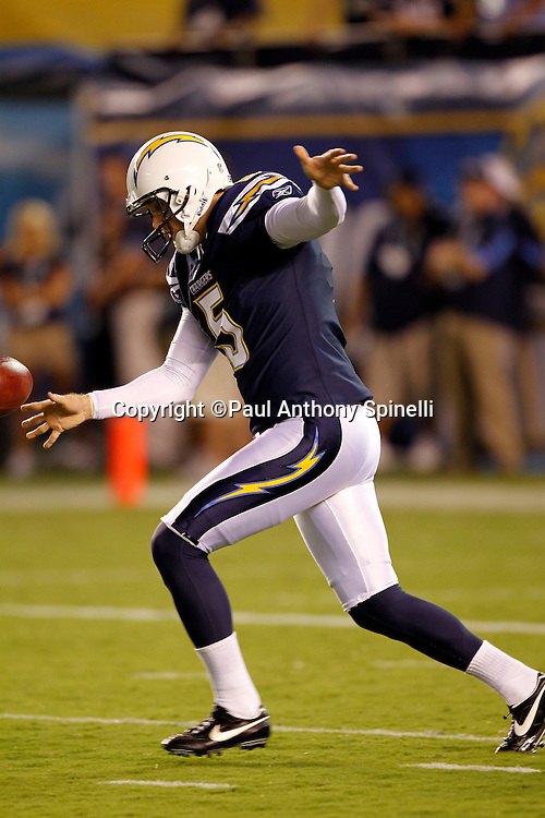 San Diego Chargers punter Mike Scifres (5) punts during a NFL week 2 preseason football game against the Dallas Cowboys on Saturday, August 21, 2010 in San Diego, California. The Cowboys won the game 16-14. (©Paul Anthony Spinelli)
