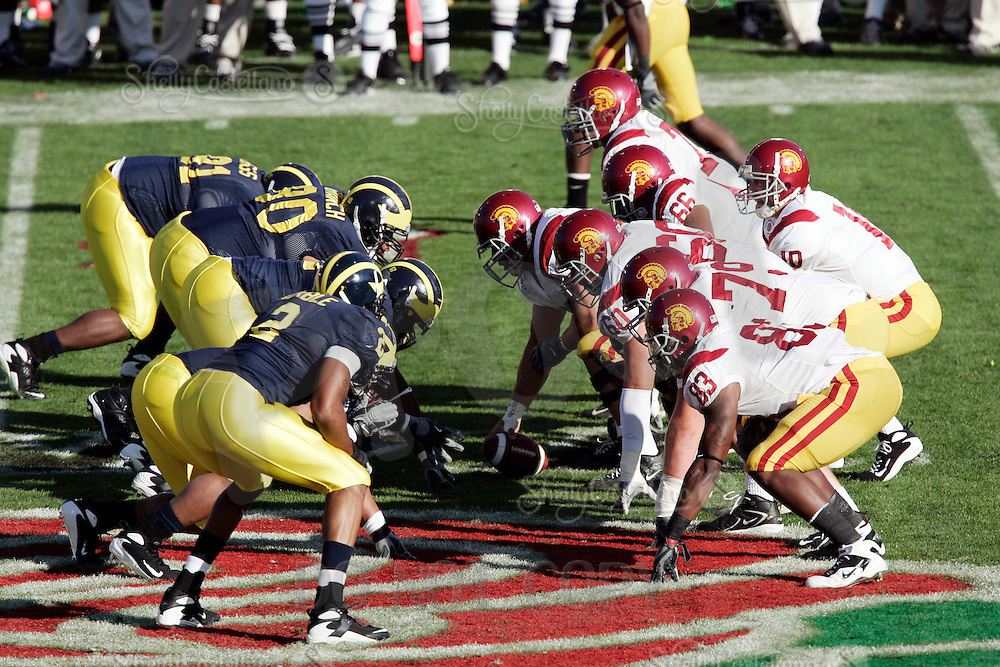 1 January 2007:  Quarterback John David Booty calls plays infront of his offensive unit at the line of scrimmage at the 93rd Rose Bowl Game at the Rose Bowl Stadium for the Pac-10 USC Trojans vs the Big-10 Michigan Wolverines NCAA college football game in Southern California.  Trojans defeated the Wolverines 32-18 in regulation.<br />