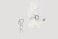 Conceptual image of stick figure breaking glass through eraser