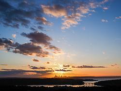 United States, Washington, Bellevue, Seattle skyline and Lake Washington viewed from Bellevue at sunset
