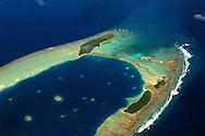 Aerial view of  atoll near Majuro, Marshall Islands (N. Pacific).
